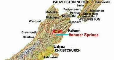 map of central new zealand showing hamner springs